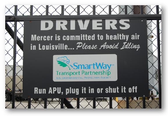 Idle Free signage at Mercer Transportation