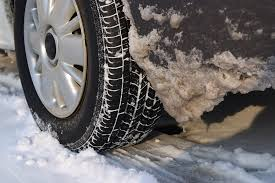 car tire in snow and ice